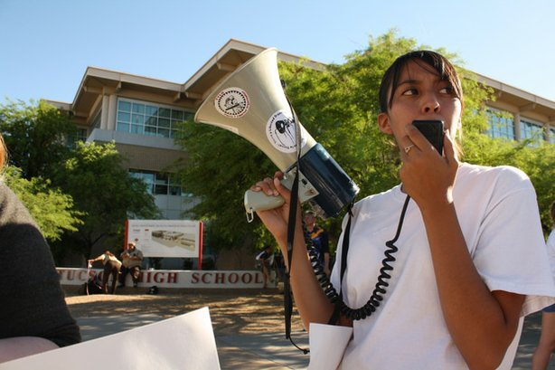 Crystal leads demonstrations to save the ethnic studies classes in front of Tucson High.