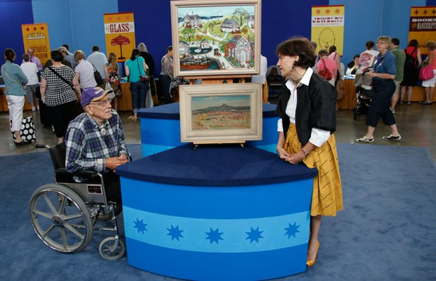 "This gentleman brought two paintings to the ANTIQUES ROADSHOW event in Minneapolis—purchased together for $5. Appraiser Debra Force assigns a value of $100-$200 to the one signed ""Spencer."" But the other work, by renowned Taos School artist Victor Higgins, was the real bargain, estimated to be worth $75,000."