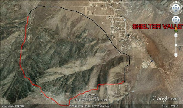 This Cal Fire map shows the location of the Banner Fire, near Julian. The red outlines where the fire is active.