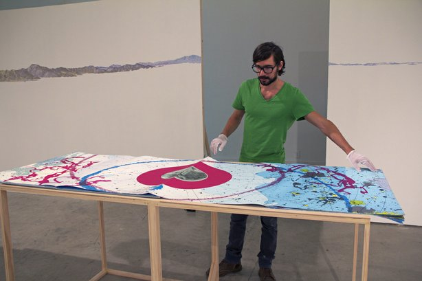 Christopher Kardambikis working &quot;Mundus Subterraneus,&quot; which is part of Heterotopia at UCSD.