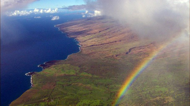 "Aerial photo of Maui as featured in ""Over Hawai'i."""