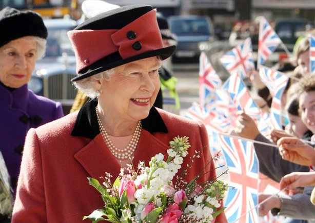 Queen Elizabeth greets her subjects and well-wishers.