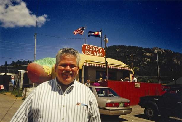 Producer Rick Sebak at Coney Island in Aspen Park, Colo. Coney Island is a fabulous hot dog shaped building in the foothills of the Rockies.