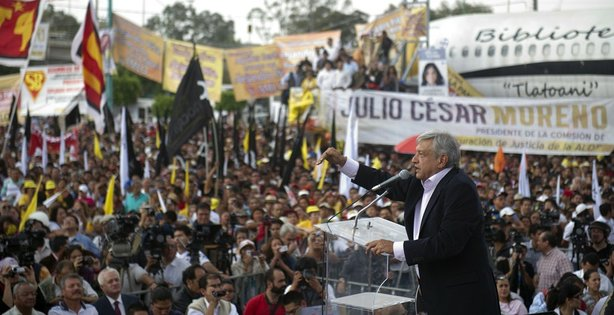 Mexican presidential candidate for the leftist coalition Progressive Movement of Mexico, Andres Manuel Lopez Obrador, speaks during a rally at the Venustiano Carranza square in Mexico City, on April 16, 2012.