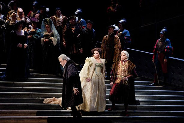 "A scene from Verdi's ""Ernani"" with Ferruccio Furlanetto as de Silva, Angela Meade as Elvira, and Dmitri Hvorostovsky as Don Carlo."