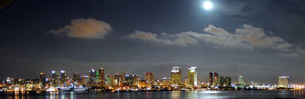 A view of the San Diego skyline from across the San Diego Bay.