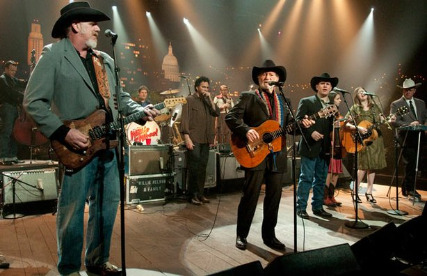 "AUSTIN CITY LIMITS veterans and country music legends Willie Nelson and Asleep at the Wheel join forces onstage in celebration of their collaborative LP, ""Willie and the Wheel."""