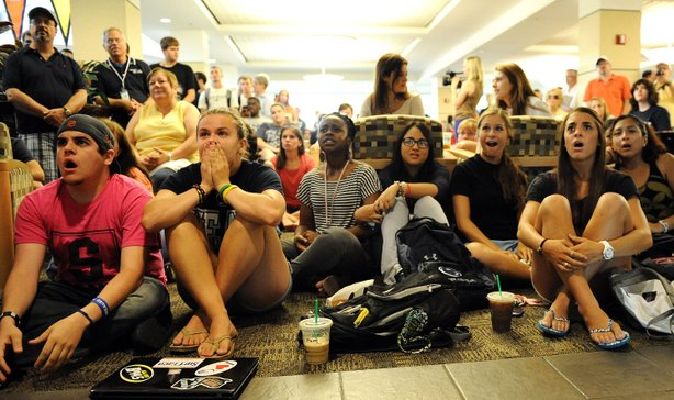 Penn State students and others react to the sanctions the NCAA announced against Penn State in the HUB on the campus of Penn State on July 23, 2012 in State College, Pennsylvania.