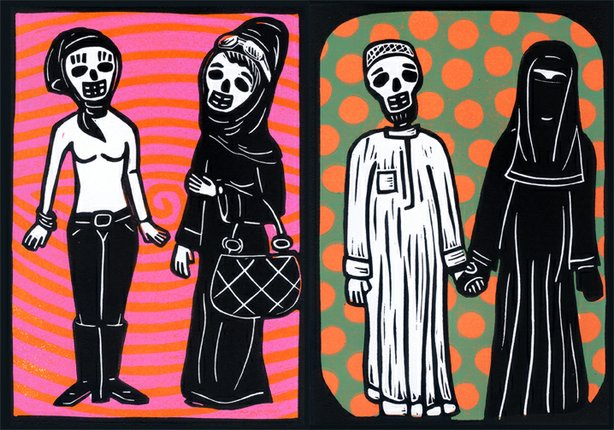 Prints by artist Bob Rob Medina, whose work will be on view August 4-12 at Voz Alta in Barrio Logan.