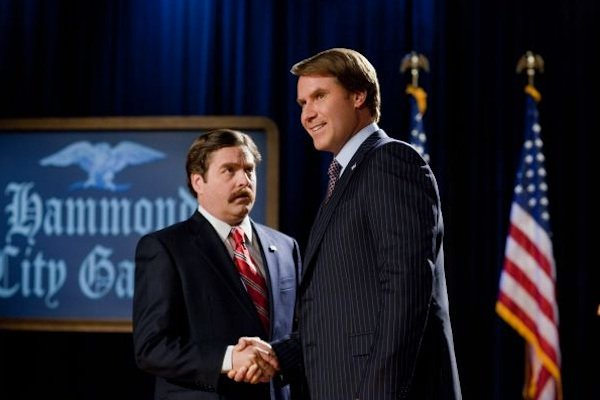"Zach Galifianakis and Will Ferrell square off in the election comedy, ""The Campaign."""