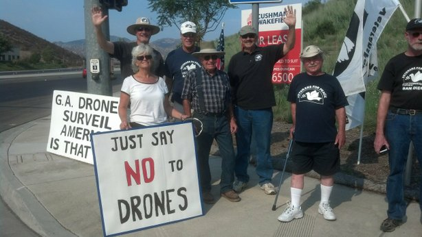 Veterans for Peace demonstrate against using drones for domestic surveillance  August 2012