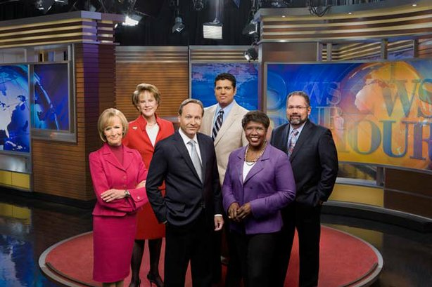 L to R: Judy Woodruff, Margaret Warner, Jeffrey Brown, Hari Sreenivasan, Gwen Ifill and Ray Suarez.