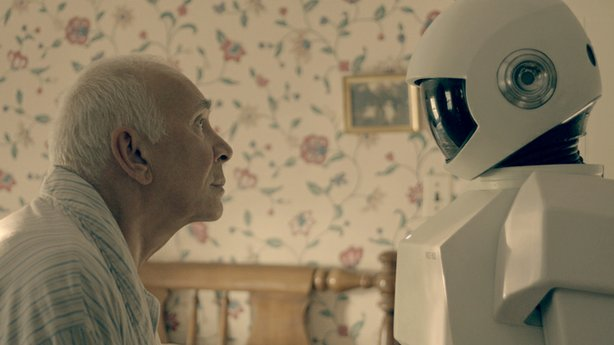 "Frank (Frank Langella) and his Robot helper in ""Robot and Frank."""