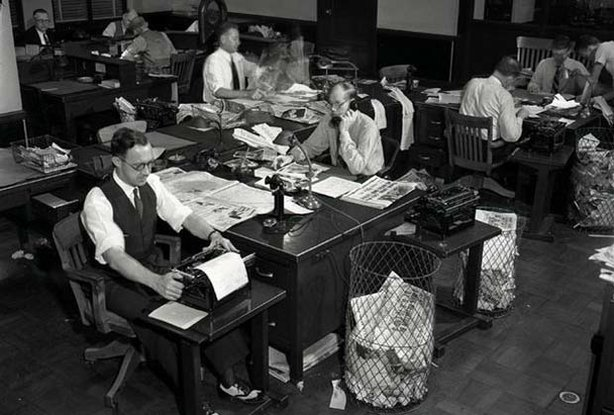 The Los Angeles Times newsroom, circa 1932. The Los Angeles Times was the city's biggest booster, instrumental to the largest internal migration in U.S. history.