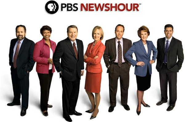The PBS NewsHour team: Ray Suarez, Gwen Ifill, Jim Lehrer, Judy Woodruff, Jeffrey Brown, Margaret Warner and Hari Sreenivasan. 