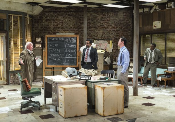 "Peter Maloney, Manu Narayan, Johnny Wu and Ray Anthony Thomas in La Jolla Playhouse's production of ""Glengarry Glen Ross."""