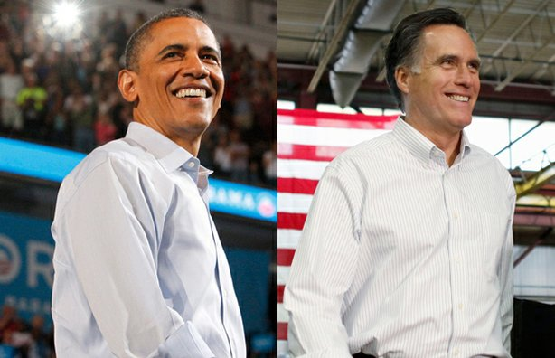 Mashup of images: President Barack Obama, 2012/ Former Massachusetts Gov. Mitt Romney, 2012.