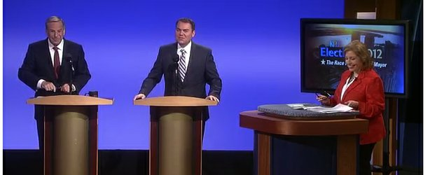 Congressman Bob Filner and City Councilman Carl DeMaio square off at the KPBS mayoral debate on Oct. 1, 2012.