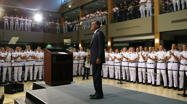 Republican presidential candidate Mitt Romney greeted cadets prior to a foreign policy speech Monday at the Virginia Military Institute in Lexington, Va.