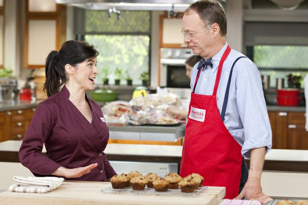 Test kitchen cook Yvonne Ruperti shows host Christopher Kimball how to make foolproof Cranberry Nut Muffins.