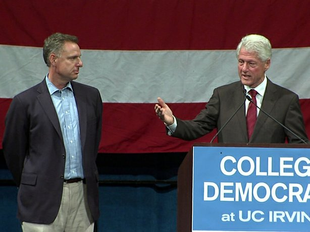 Congressional candidate Scott Peters and former President Bill Clinton at a campaign rally at UC Irvine on Tuesday, Oct. 23, 2012.