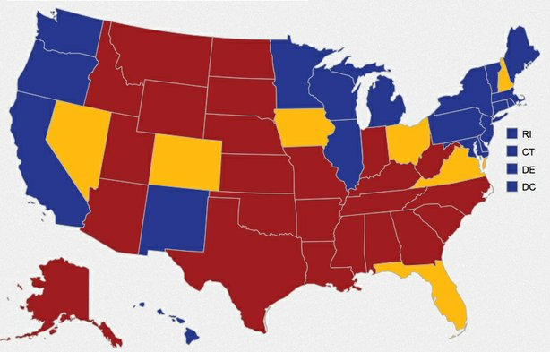 Activists with 'National Popular Vote' say the Electoral College means presidential candidates only see the swing states whey look at this map, and they want votes in all states to matter just as much.