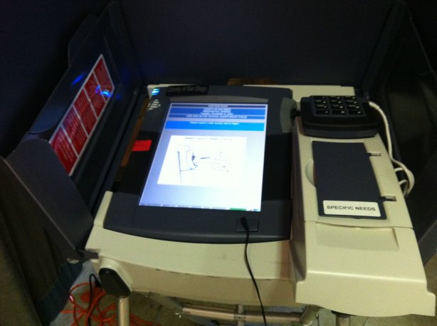 The lonely touchscreen voting machine at the San Altos Elementary School polling location. Registrar of Voters field coordinator Chris Feraro says only a handful of people generally opt to use it.