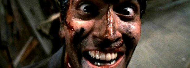 "Bruce Campbell doing what he does best in ""Evil Dead 2: Dead By Dawn"" -- act by himself."