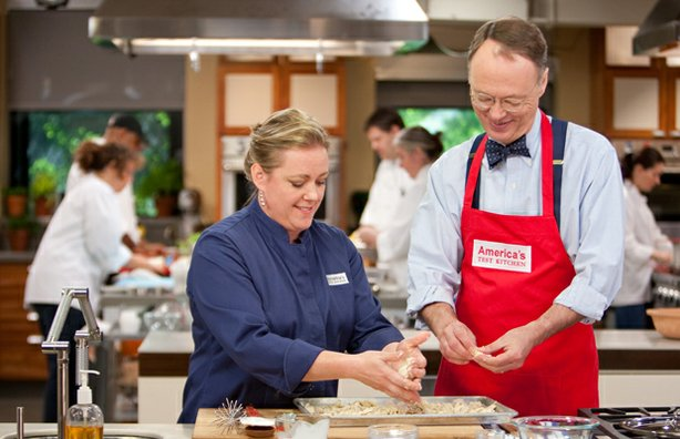 Test cook Julia Collin Davison in the kitchen with AMERICA&#39;S TEST KITCHEN host Christopher Kimball.