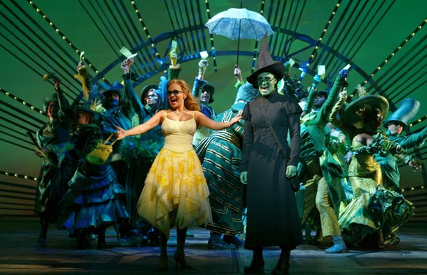 Kristin Chenoweth and Idina Menzel in a scene from &quot;Wicked.&quot;