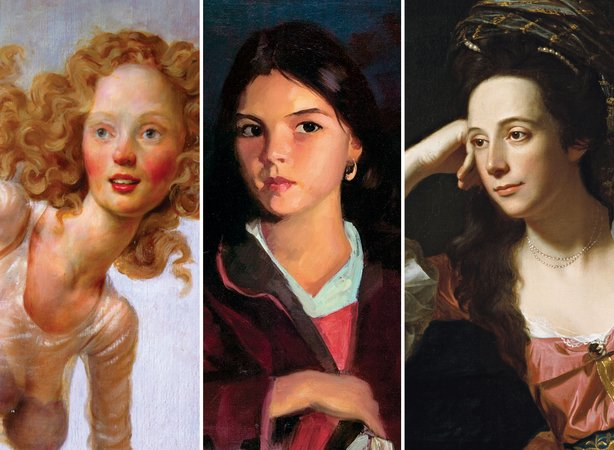 "Details of three individual paintings on view in ""Behold, America!"" From left to right: John Currin, ""The Hobo"" (1999); Robert Henri, ""Bernadita"" (1922); and John Singleton Copley, ""Mrs. Thomas Gage"" (1771)."