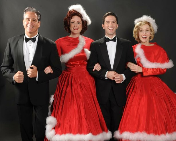 "David Engel, Laura Dickinson, Jeffrey Scott Parsons, and Jill Townsend in the San Diego Musical Theater's production of ""Irving Berlin's White Christmas."""