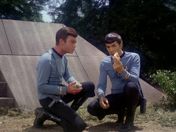 "DeForest Kelley as Dr. McCoy and Leonard Nimoy as Spock in ""The Paradise Syndrome"" episode of the original ""Star Trek."""