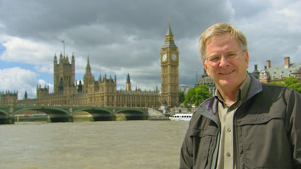 Rick Steves and the Parliament buildings, London, England.