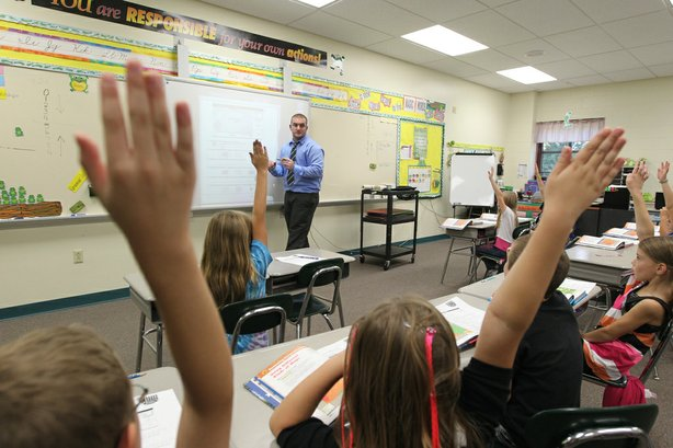 Student teacher Brandon Wyratt teaches at California Elementary School.