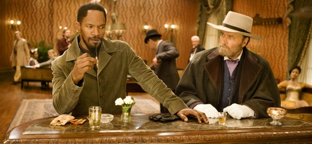 "New Django (Jamie Foxx) meets the original Django (Franco Nero in Quentin Tarantino's ""Django Unchained."""