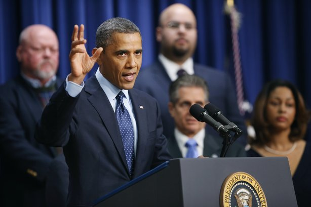 President Barack Obama delivers remarks about the fiscal cliff negotiations in the Eisenhower Executive Office Building next to the White House December 31, 2012 in Washington, DC.