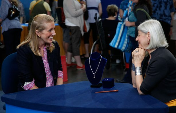 Appraiser Gloria Lieberman (right) with a guest and her Tiffany & Co. natural pearl and diamond necklace, ca. 1909.