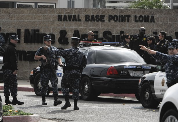 Naval security personnel lock down Naval Base Point Loma as police search for suspect, former LAPD officer Christopher Jordan Dorner, February 7, 2013 in San Diego, California. 