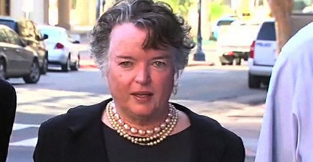 Former San Diego Mayor Maureen O&#39;Connor appeared in federal court and entered into a deferred prosecution agreement in which she acknowledged misappropriating millions of dollars from her deceased husband&#39;s charitable foundation, February 14, 2013. 