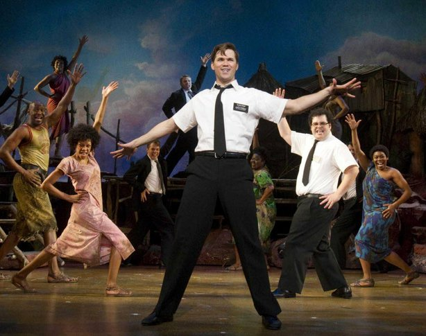 "The cast of the original Broadway production of ""The Book of Mormon."""