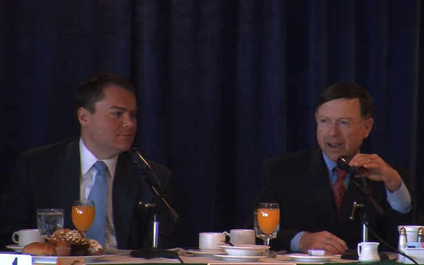 Ex-City Councilman and mayoral candidate Carl DeMaio and City Attorney Jan Goldsmith at a SDCTA forum.