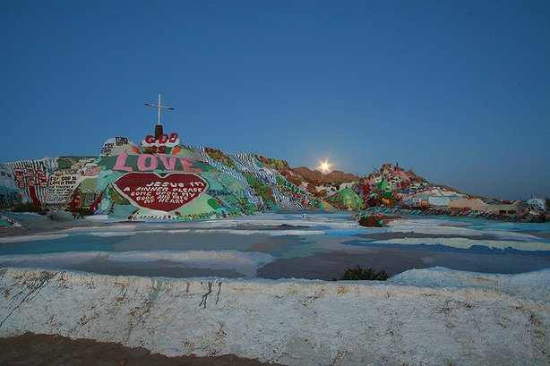 Salvation Mountain, created by Leonard Knight, is in the Imperial Valley Desert east of San Diego.