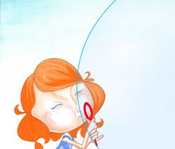 "Becka blowing a bubble. Becka is the the main character from the animated TV program ""Becka & the Big Bubble."""