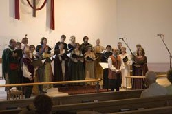 Photo of The La Jolla Renaissance Singers performing in costume.
