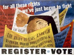 """Register to Vote"" poster by Ben Shahn, 1946, for Congress of Industrial Rights. Source: Library of Congress."
