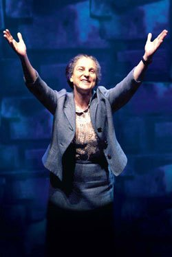 "Tovah Feldshuh as Golda Meir in ""Golda's Balcony"" by William Gibson, at The Old Globe, April 28 - May 30, 2010. Photo by Aaron Epstein."