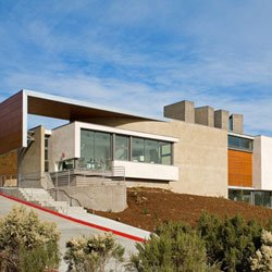 Exterior shot of the Lux Art Institute, located at 1550 S El Camino Real, Encinitas, CA 92024. 