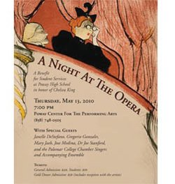 "Event flier for ""A Night at the Opera"" on May 13 at the Poway Center for the Performing Arts."