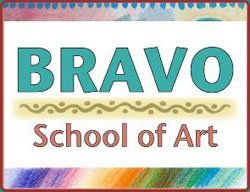 Graphic logo for the Bravo School of Art located in the heart of the newly restored Barracks 19 Art &amp; Design Center at NTC Promenade in Liberty Station